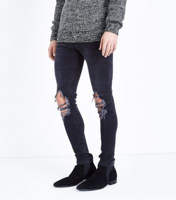 Black Ripped Super Skinny Jeans