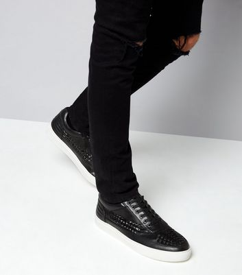 Black Woven Contrast Sole Trainers