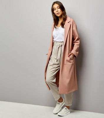 Long manteau doux rose pâle