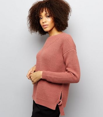 Tall Shell Pink Ribbed D Ring Hem Jumper