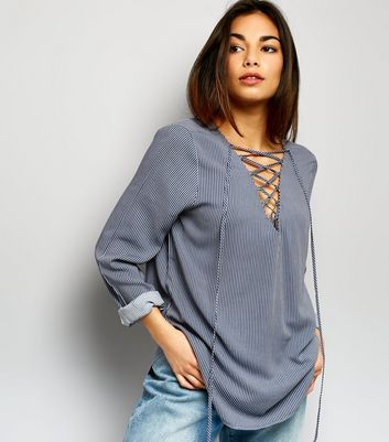 JDY Light Grey Stripe Lattice Front Top
