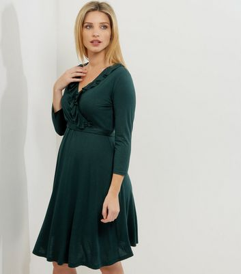 Maternity Dark Green Frill Trim Wrap Front Midi Dress