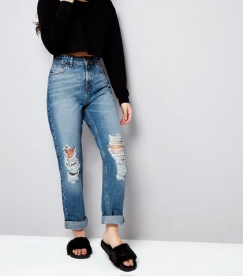 Blue Ripped Mom Jeans