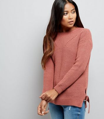 Petite Pink Knitted D Ring Jumper