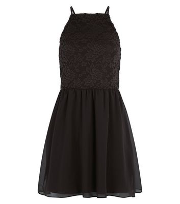 Teens Black Lace 2 in 1 Skater Dress