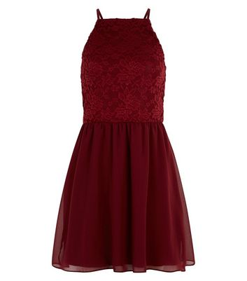 Teens Red Lace Skater Dress