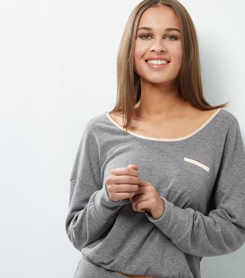 Pale Grey Brushed Sateen Trim Lounge Sweater