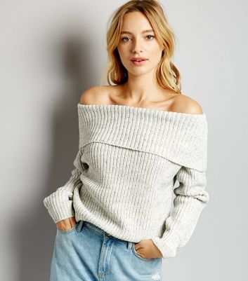Grey Ribbed Bardot Neck Jumper