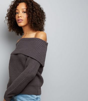 Dark Grey Ribbed Bardot Neck Jumper