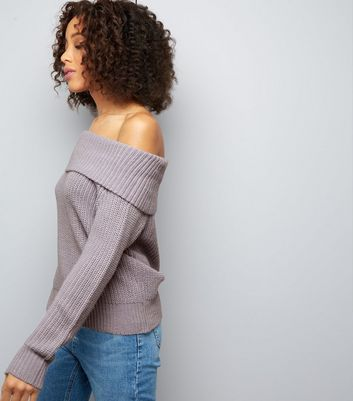 Lilac Ribbed Bardot Neck Jumper