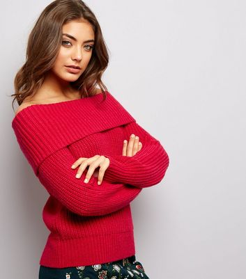 Red Ribbed Bardot Neck Jumper
