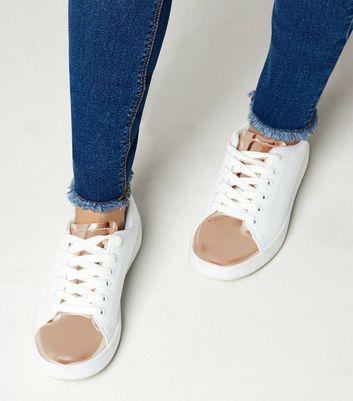 Teens Rose Gold Metallic Panel Trainers
