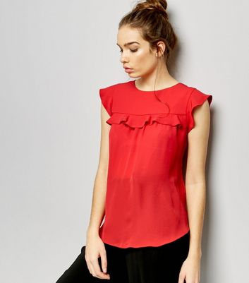 Red Frill Trim Cap Sleeve Top