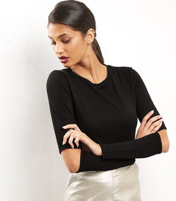 Black Split Elbow Long Sleeve Top