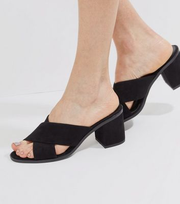 Black Suedette Cross Strap Heeled Mules