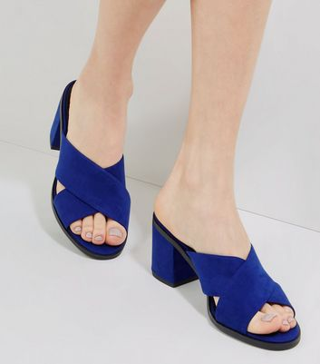Blue Suedette Cross Strap Heeled Mules
