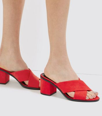 Red Suedette Cross Strap Heeled Mules