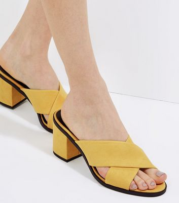 Yellow Suedette Cross Strap Heeled Mules