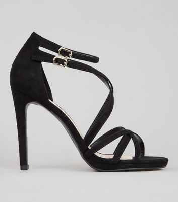 Black Suedette Multi Strap Heeled Sandals