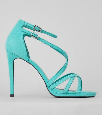 Green Suedette Cross Strap Heeled Sandals