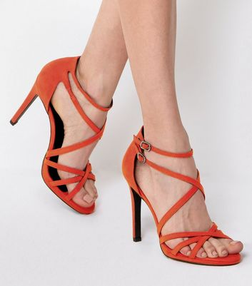 Orange Double Ankle Strap Heeled Sandals