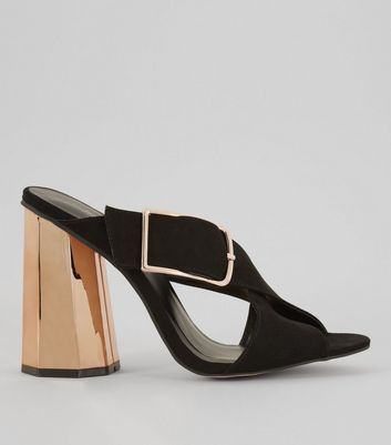 Black Suedette Contrast Flared Metal Heeled Mules