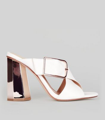 White Contrast Flared Metal Heeled Mules