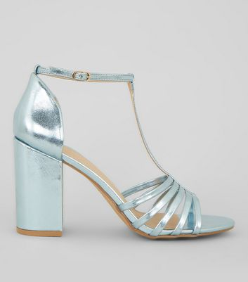 Blue Metallic Multi Strap Heeled Sandals