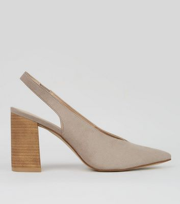 Grey Suedette Pointed Sling Back Heels