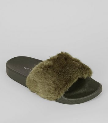 Khaki Faux Fur Sliders Slippers