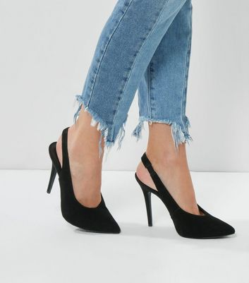 Black Suede Pointed Slingback Heels