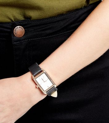 Black Square Face Textured Strap Watch