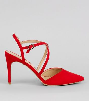 Red Suedette Cross Strap Pointed Heels
