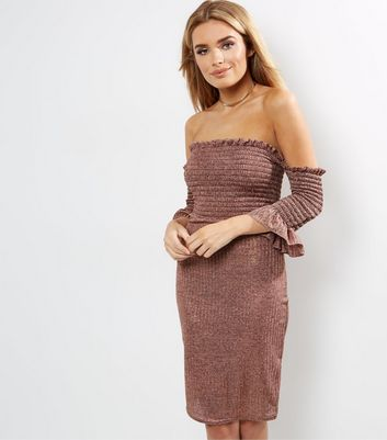 Loving This Pink Ribbed Metallic Bardot Neck Dress