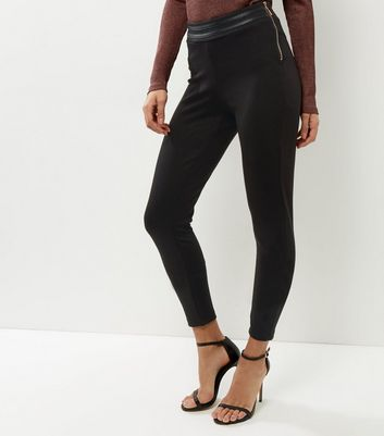 QED Black Side Zip High Waisted Trousers