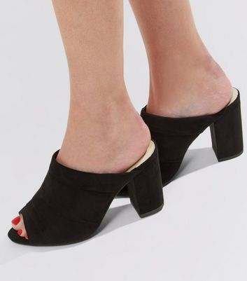 Wide Fit Black Comfort Suedette Ruched Heeled Mules