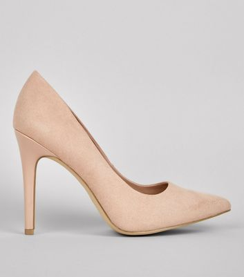 Wide Fit Nude Suedette Pointed Court Shoes