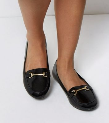 Extra Wide Fit Black Patent Metal Bar Loafers