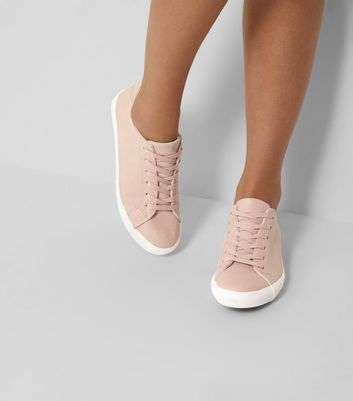 Pink Lace Up Contrast Sole Trainers