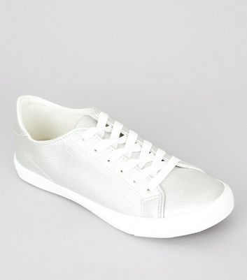 Silver Contrast Sole Lace Up Trainers