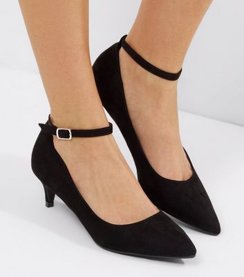 Black Suedette Mid Heel Ankle Strap Court Shoes