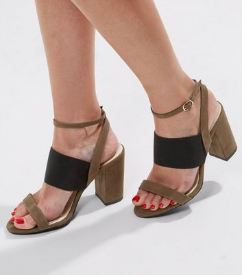 Wide Fit Khaki Comfort Double Strap Heeled Sandals