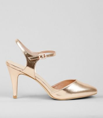 Wide Fit Rose Gold Metallic Ankle Strap Heels