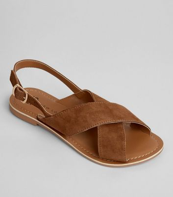 Teens Tan Suede Cross Front Sandals