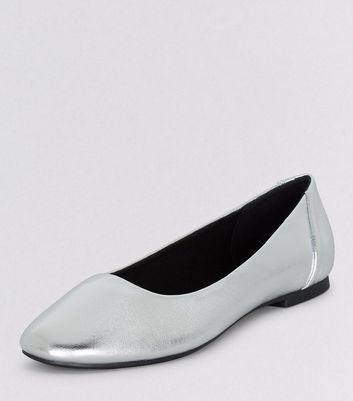 Teens Silver Patent Square Toe Shoes