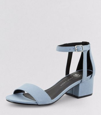 Teens Pale Blue Suedette Ankle Strap Block Heels