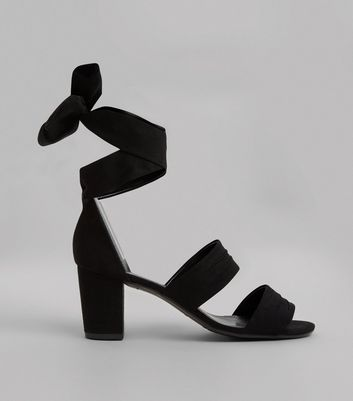 Teens Black Suedette Tie Up Ankle Strap Heels