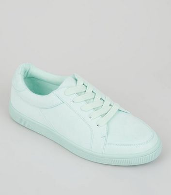 Teens Mint Green Suedette Lace Up Trainers