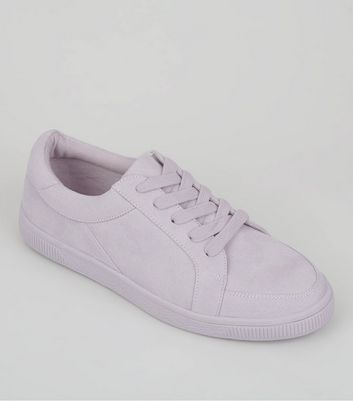 Teens Lilac Suedette Lace Up Trainers