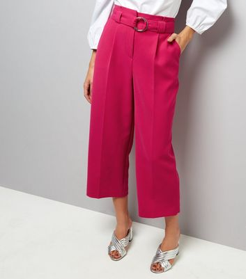 Bright Pink Hoop Belt Wide Leg Trousers